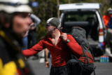 Matt Shepard of Golden loads up after being rescued on the northeast side of Long's Peak Monday,...