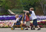 Addie Robison, two, is pushed through a flower garden by Callista Hares, two, and Cameron Hares,...