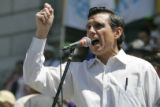 "Former Denver Mayor,  Federico Pena gives an emotional speech during a "" We are America..."
