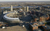 16 November, 2005 -- View of Busch Stadium old and new from the Eagleton Federal Courthouse...