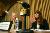 Barrie Hartman, CU-Boulder Spokesperson, left, and Professor Mimi Wesson, Chair of the...