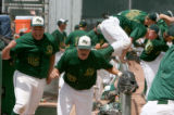 Mountain Vista players Robby Ellison (15), and Brandon Davis (47), cheer and run around the dugout...