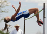 "Fruita's Sonni Russell clears 5'8"" on her way to winning the Girls' 5A High Jump at the 4A/5A..."