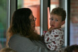 Amber Villarreal (cq) with her two year old son Elijah Villarreal  at the Catholic Charities...