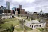(DENVER, Co. - SHOT 3/17/2005) A view of Civic Center Park looking northeast with Downtown Denver...