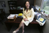 Luella Chavez D'Angelo, (cq), President, First Data Western Union Foundation, in her office,...
