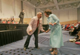Chris Martin (cq), 85,left, and Kathi Gomendi (cq), 61, right, take to the floor for a dance while...