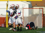 William Creek, left and Tyler Padzik, of Cherry Creek, celebrate their victory 6-4 over Kent...