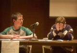 Denver, Colo., photo taken April 1, 2005- Greg Longfellow (cq left),14, a 8th grader at Miller...