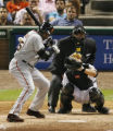 HTA121 - San Francisco Giants' Barry Bonds is hit by a pitch by Houston Astros pitcher Russ...