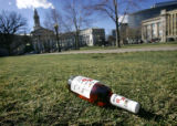 (DENVER, Co. - SHOT 3/16/2005) A bottle of blended whiskey sits abandoned and forgotten on the...