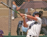 Columbine's C.J. Gillman swings in Columbine's 6-2 win over Fort Collins in Class 5A state...