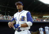 NCJC107 - **SPECIAL TO THE ROCKY MOUNTAIN NEWS ** Durham Bulls' centerfielder Darnell McDonald...