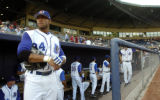 NCJC106 - **SPECIAL TO THE ROCKY MOUNTAIN NEWS ** Durham Bulls' centerfielder Darnell McDonald...
