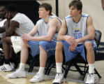 (L-R in blue shorts) Coby Karl, the son of Nuggets head coach George Karl, and Louis Amundson, a...