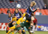 The Colorado Rapids Jacob Peterson (#15) beats Los Angeles Galaxy's Kyle Veris during the first...