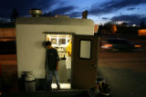Jose Granillo takes a break while working at Primavera Taco, a taco-vending trailer parked on...
