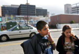Hill Middle School 8th graders Sarah Carrillo (cq, right), 13, and her cousin Martin Ramirez (cq,...