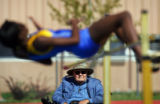 Mullen High School high jump coach John Hoskins (cq), 77, of Denver has coached track for 48 years...