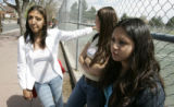 (L-R) Marisol Vasquez (cq) 19, Yadira Zubia (cq) ,17, and Emily Jiminez (cq) ,15 all students at...