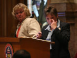 (FOREGROUND) Colorado Senate President Joan Fitz-Gerald holds back tears after House Bill 1090...