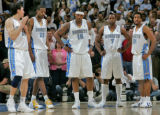 Denver Nuggets starting five (left to right) Eduardo Najera, Marcus Camby, Carmelo Anthony, Greg...
