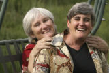 (LT. TO RT.) Cheryl Siefert, 54,  (white hair) of Golden, and her partner of 27 years Leona...