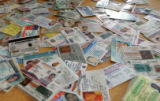 Dozens of fake identification cards that were confiscated by Colorado State Patrol along the I70...