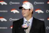 Denver Broncos' first round draft pick, 11th overall, Vanderbilt QB Jay Cutler (cq) is introduced...