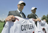 Denver Broncos' first round draft pick, 11th overall, Vanderbilt QB Jay Cutler (cq) left, and...