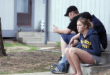 16 year old Amanda Hansen sits with friends (they did not want their name used) Sunday afternoon...