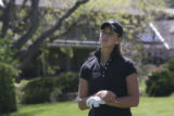 Chelsea Collins, Monarch High, looks introspective on the tee watching another tee off early in...