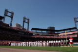 (Monday, April 10, 2006)---St. Louis Cardinals lineup during the  pre-game ceremony  for Opening...