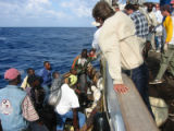 Photos provided by Anita Kasch, a DU student involved in saving Haitian refugees while she was on...