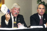 (Arvada, CO. SEPTEMBER 17, 2004)  l to r: 7th Congressional District candidate Dave Thomas and...