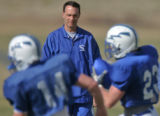 Former Houston Texans offensive coordinator Troy Calhoun oversees practice at the Air Force...