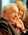 NY129 - ** FILE ** Nobel and Pulitzer Prize winning author Saul Bellow, left, listens to fellow...