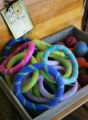 Dog toys, made from boiled wool, to benefit an orphanage in Nepal, distributed by A Cheerful...