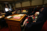 Alyssa Frost, 7, caught a lucky break and got to sit in a real senator's chair **(actually,...