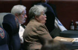 Sen. Stephanie Takis D-Aur shouts no as one of the budget amendments is being discussed on the...