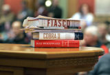 Ken Gordon D- Denver, Democratic Senate Majority leader, books sit on a table at the State,...