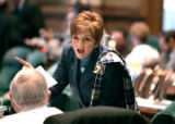 (DENVER, Co. - SHOT 4/6/2005) Wearing a tartan scarf over her shoulder Rep. Lynn Hefley, R -...