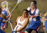Kent Denver's Alyssa Vigil, left, is defended by Cherry Creek's Keri Rattiner, right, in the...