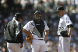 BG0445 Colorado Rockies startingBob Apodaca and catcher Chris Iannetta in the second inning of the...