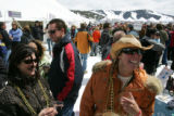 Vail residents Beth McNicholas (cq), left, and Dinell Olson (cq), right taste some wine at the...