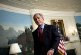 (NYT37) WASHINGTON -- April 16, 2007 -- VA-TECH-SHOOTINGS-BUSH -- President George W. Bush turns...