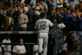 Rockies pinch-hitter Jeff Baker blasted a 417-foot home run in the sixth inning to put the Rockies...