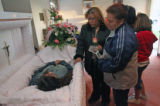 April 3rd, 2007. (from left) Maria Favela (cq) and Rosa Ornelas (cq) stop by the coffin where 29...