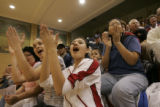 Fans cheer as  Jordyn Brown(cq) sinks a three pointer during the Best of the West senior All-Starr...
