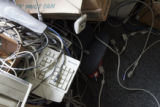 Computer parts and wires form a tangled mess in a classroom corner at  Manual High School.  (JUDY...